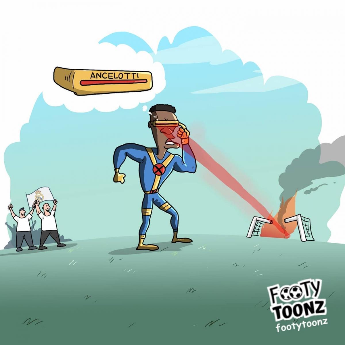 HLV Carlo Ancelotti nâng tầm Vinicius. (Ảnh: Footy Toonz)