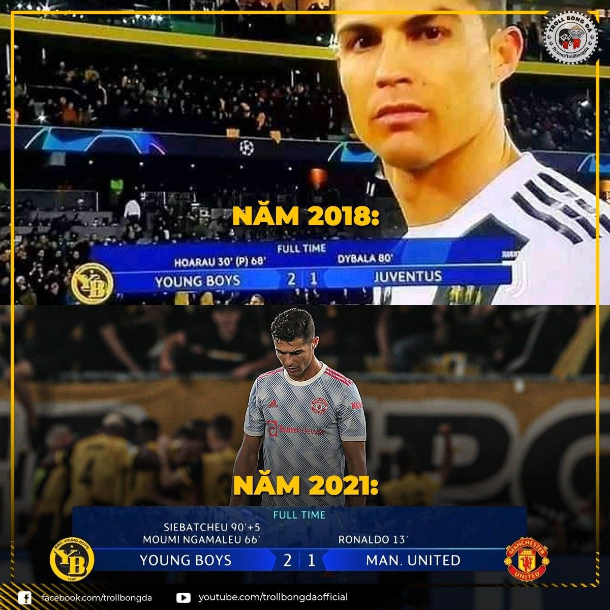 """Cristiano Ronaldo lại """"ôm hận"""" trước Young Boys. (Ảnh: Troll Bóng Đá)"""