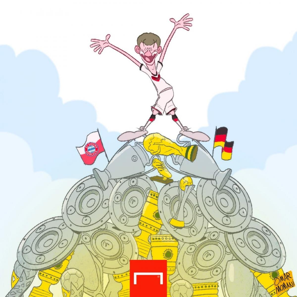 Bộ sưu tập danh hiệu của Thomas Muller. (Ảnh: Omar Momani)