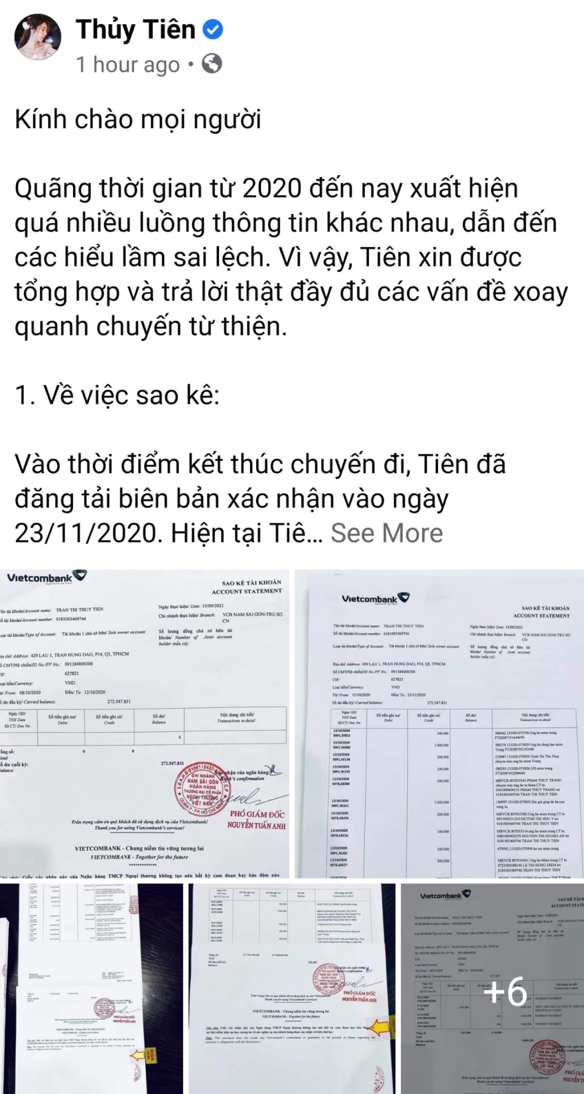 Thủy Tiên khẳng định chỉ dùng 1 tài khoản để kêu gọi.