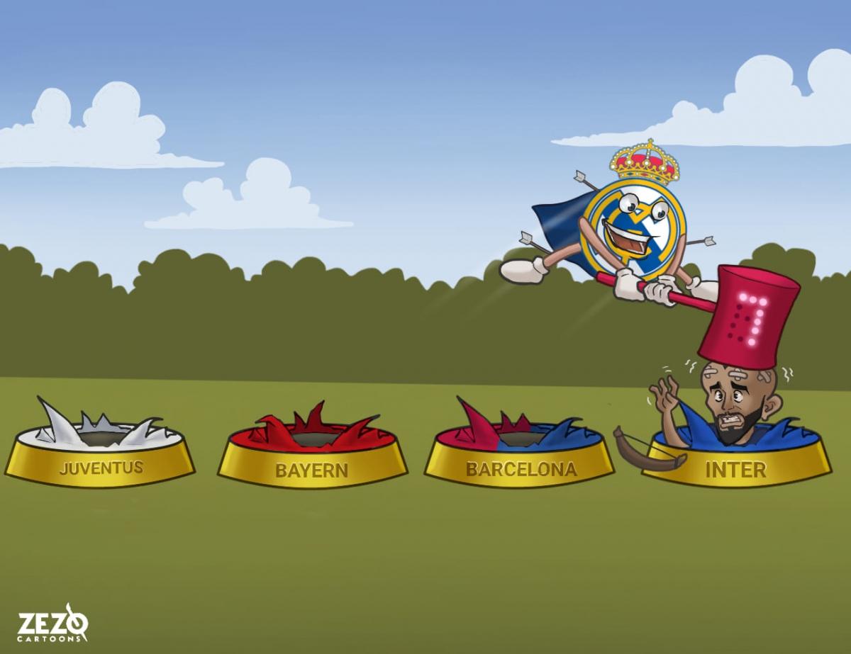 """Real Madrid và thói quen """"gieo sầu"""" cho Arturo Vidal. (Ảnh: ZEZO Cartoons)"""