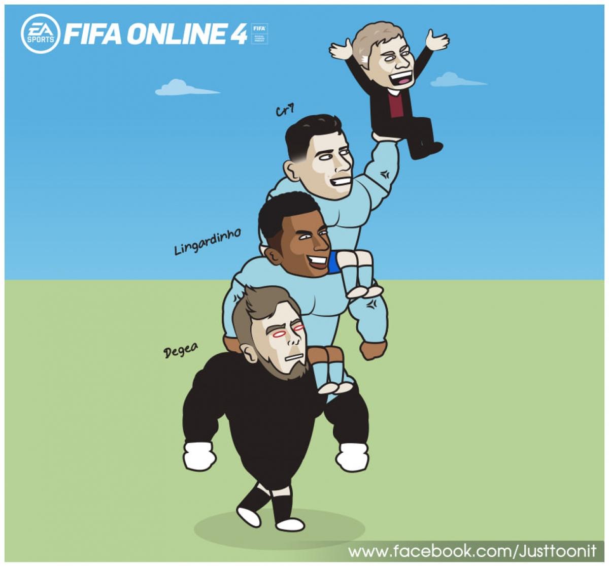 MU đả bại West Ham nhờ sự toả sáng của De Gea, Lingard và Ronaldo. (Ảnh: Just Toon It)