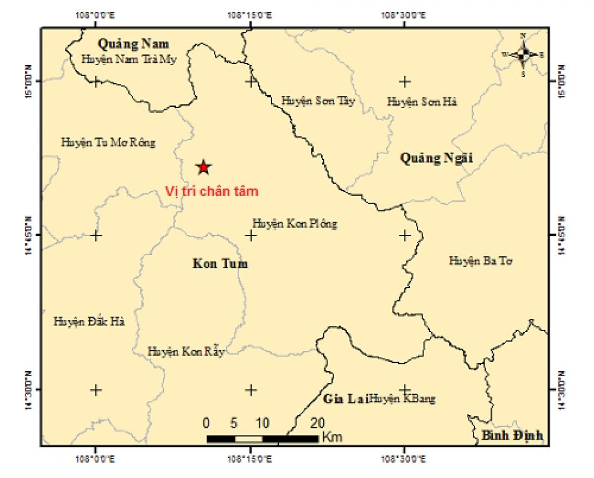 Vị trí trận động đất lúc 12h.