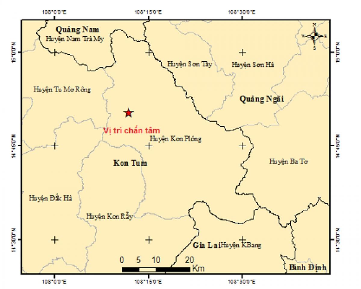 Vị trí trận động đất lúc 22h08.