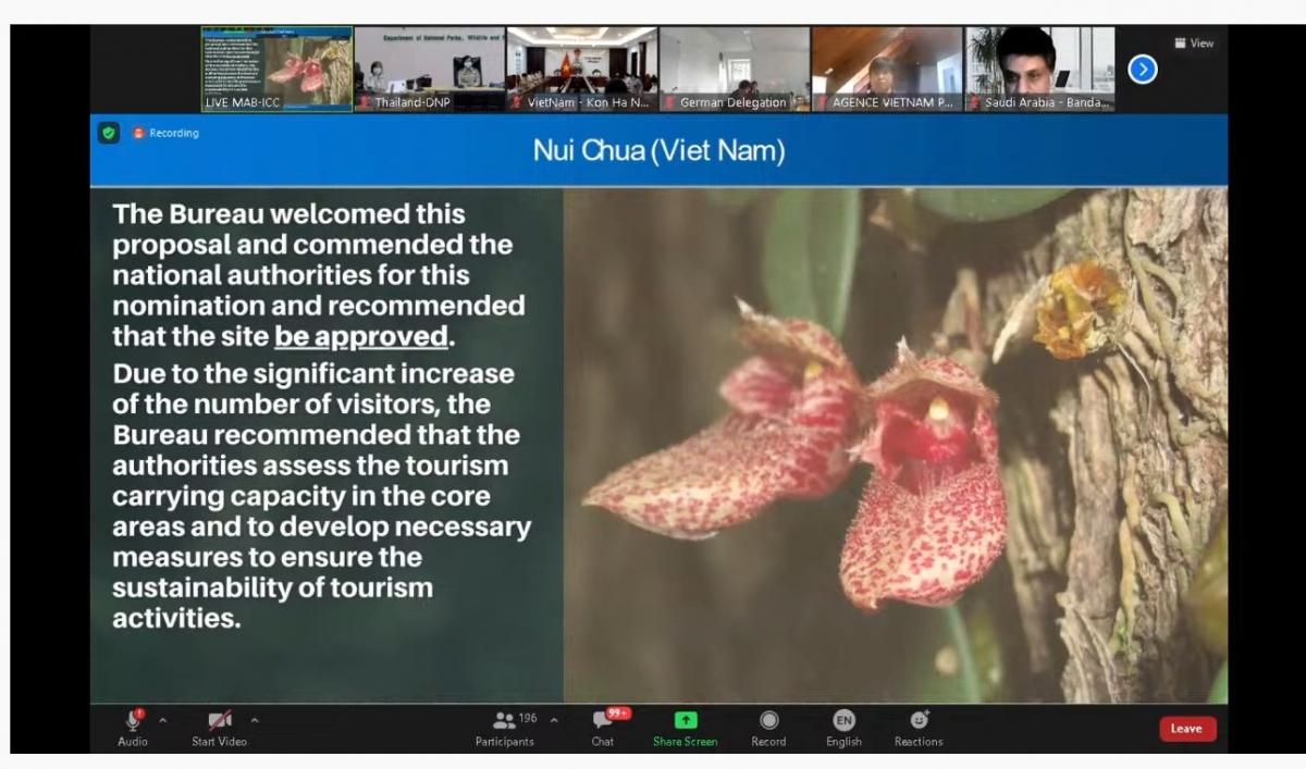 Hội đồng điều phối phê duyệt công nhậnVườn quốc gia Núi Chúa