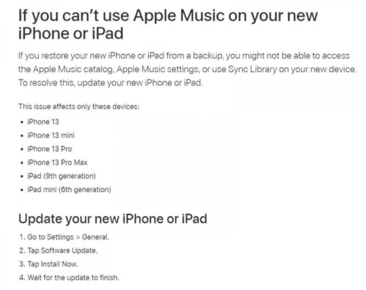 Thông tin xác nhận lỗi trên trang hỗ trợ của Apple