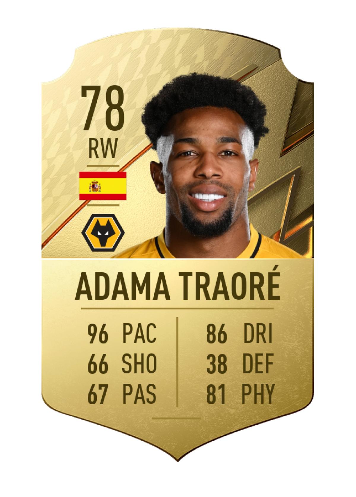 2. Adama Traoré   Wolves   Chỉ số chạy nhanh 96