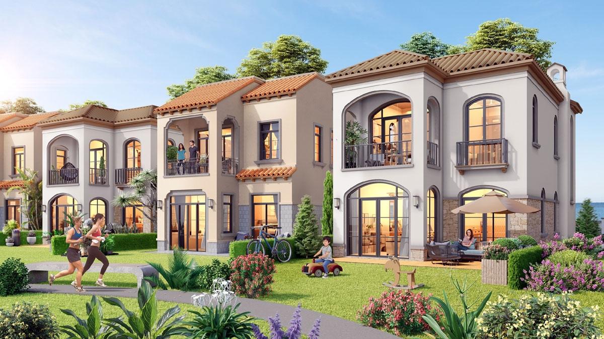Thiết kế các căn biệt thự theo phong cách Địa Trung Hải, lấy thiên nhiên làm trọng tâm.