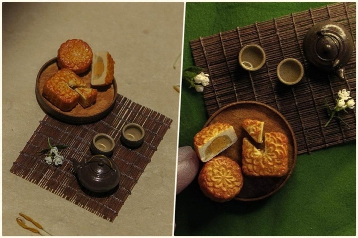 Bánh trung thu, bộ ấm chén uống trà tí hon được chế tác tỉ mỉ, sống động đến từng chi tiết.