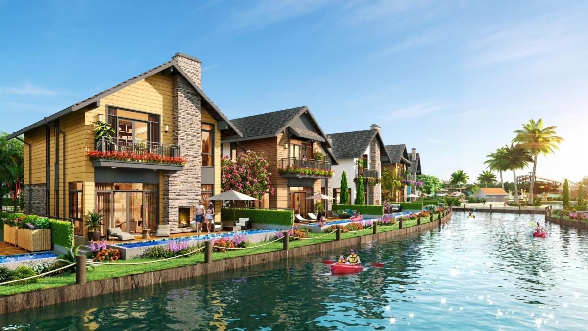 Biệt thự Lagoon với hệ thống kênh đào bao bọc xung quanh dãy nhà.