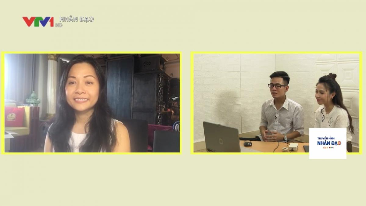 Phần giao lưu trực tuyến của chị Trần Uyên Phương với Tùng trong chương trình.