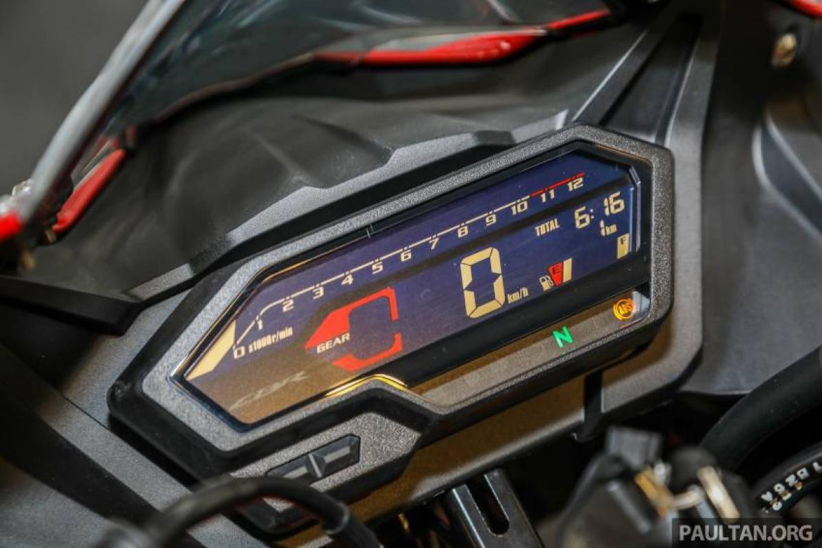 Ngoài ra, Honda CBR150R 2021 còn được trang bị màn hình LCD hiển thị rõ ràng những thông tin như tốc độ, vòng tua, nhiên liệu, đồng hồ đo hành trình, đồng hồ đo quãng đường, mức tiêu thụ nhiên liệu trung bình cũng như thời gian thực.