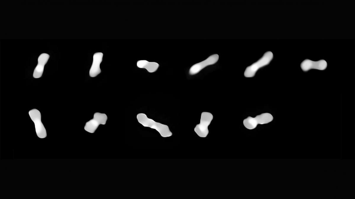 Tiểu hành tinh Kleopatra có hình dạng giống xương chó. Ảnh: Live Science
