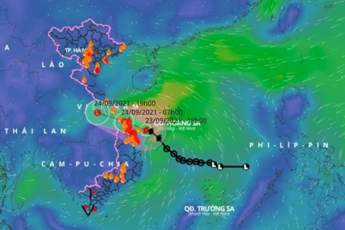 Vị trí và hướng đi của bão số 6. Ảnh: Trung tâm DBKTTV Trung ương.