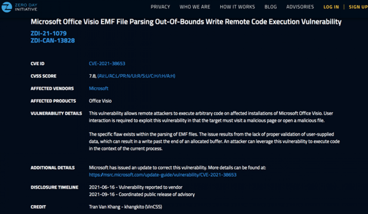 Thông tin từ website Microsoft về lỗ hổng bảo mật do Chuyên gia Trần Văn Khang phát hiện