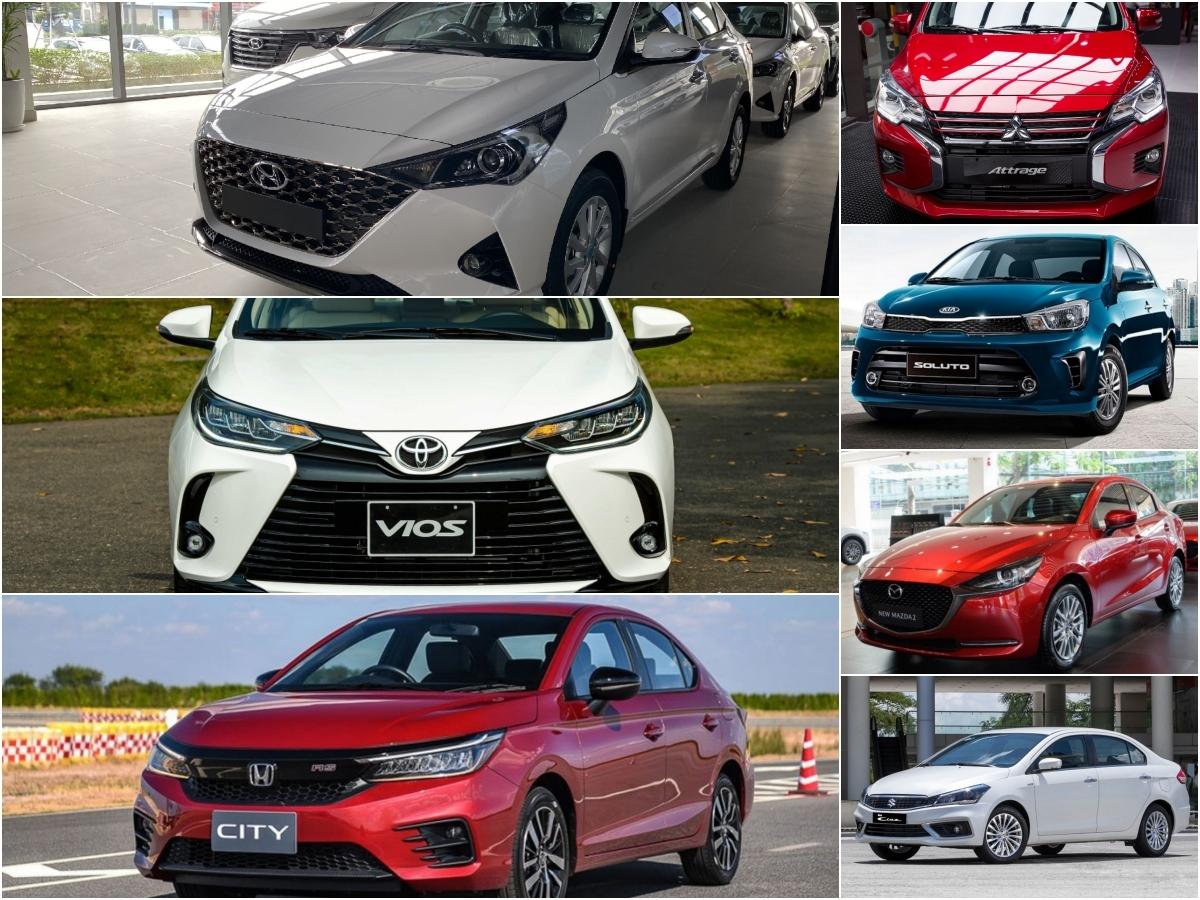 Phân khúcxe sedan hạng B với sự góp mặt của 7 mẫu xe đến từ các thương hiệu khách nhau