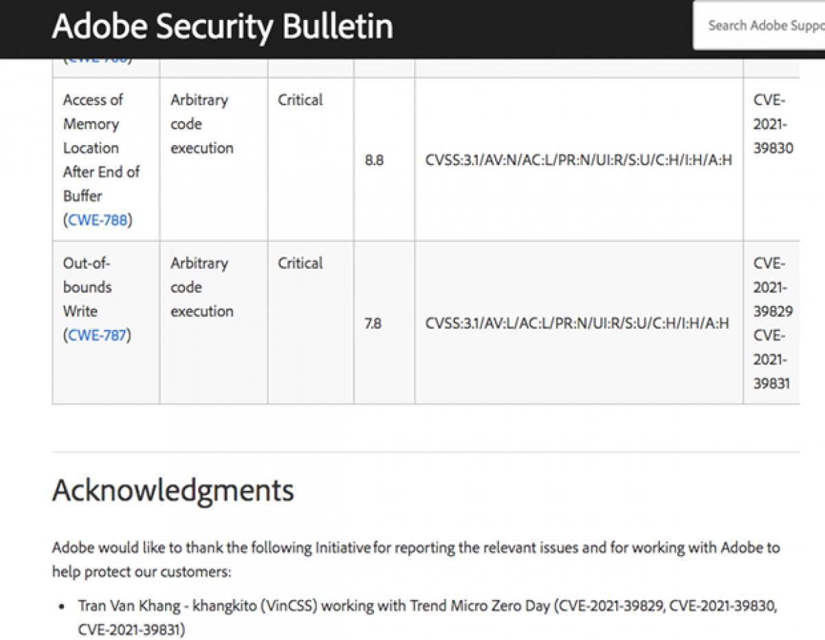 Thông tin từ website Adobe về các lỗ hổng bảo mật do Chuyên gia Trần Văn Khang phát hiện