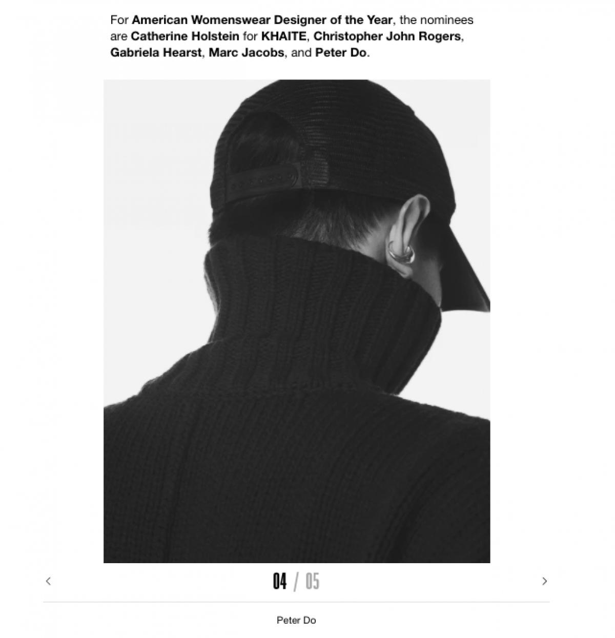 Hình ảnh nhà thiết kế Peter Do trong danh sách đề cử giải thưởng CFDA.
