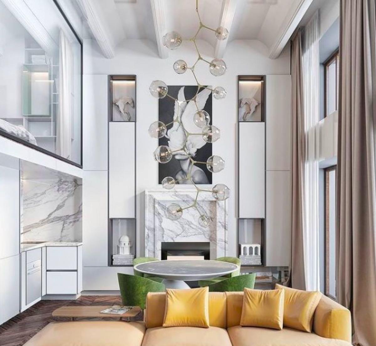 Bộ màu chủ đạo của năm là xám và vàng được áp dụng trong nhiều thiết kế nội thất.