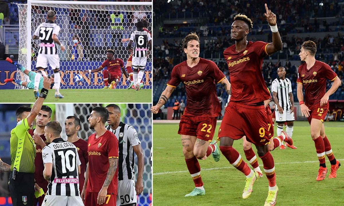 AS Roma thắng Udinese nhờ cú đánh gót của Tammy Abraham. (Ảnh: Daily Mail)