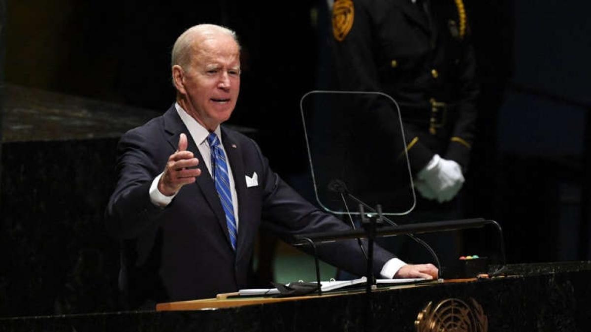 Tổng thống Biden phát biểu tại Liên Hợp Quốc. Ảnh: Getty