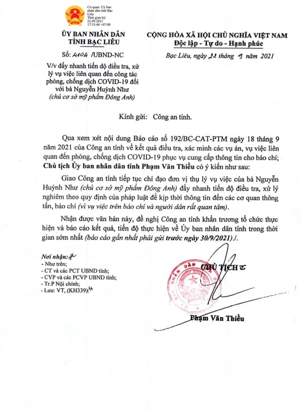 Văn bản của UBND tỉnh Bạc Liêu.