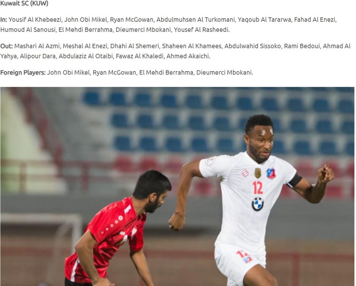 Trang chủ AFC xác nhận Obi Mikel là một trong những ngoại binh của Kuwait SC thi đấu vòng knockout AFC Cup 2021. (Ảnh: AFC).