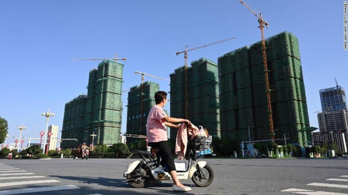 Một công trình xây dựng của Evergrande tại tỉnh Hà Nam, Trung Quốc được chụp hôm 14/9/2021. (Ảnh: CNN Business)