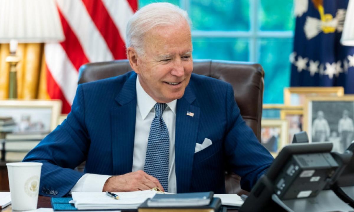 Tổng thống Biden trong cuộc điện đàm với người đồng cấp Pháp hôm 22/9. (Ảnh: Reuters)