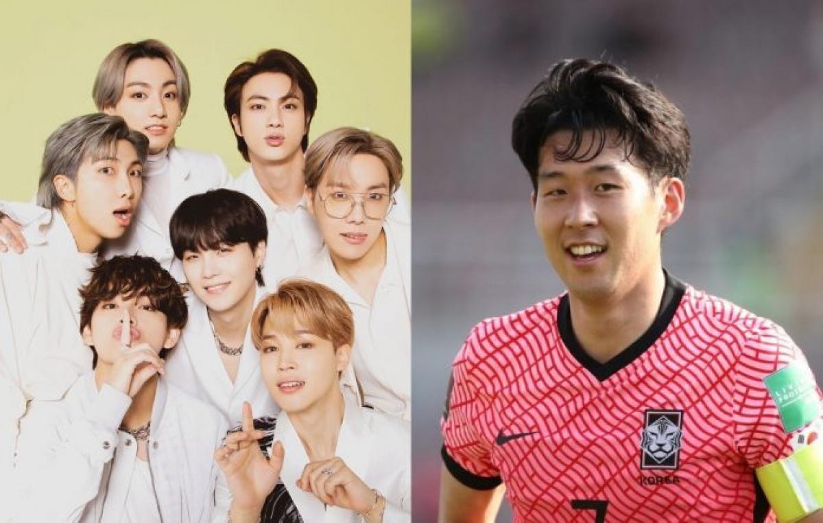 Nhóm BTS và danh thủ Son Heung-min. Nguồn: Big Hit Music, Chung Sung-Jun/Getty