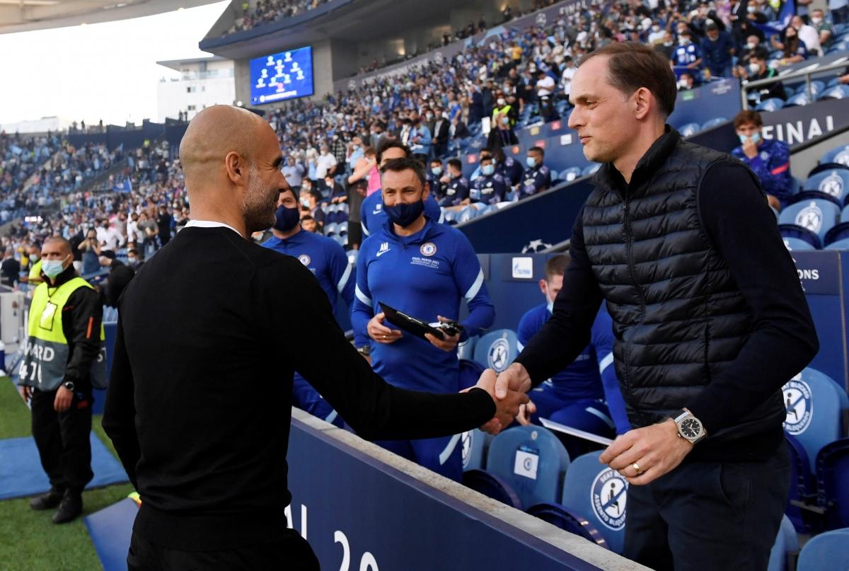 Kể từ khi đến dẫn dắt Chelsea tháng 1/2021, HLV Tuchel đã giúp The Blues toàn thắng 3 trận khi đối đầu Man City của HLV Guardiola. (Ảnh: Reuters).