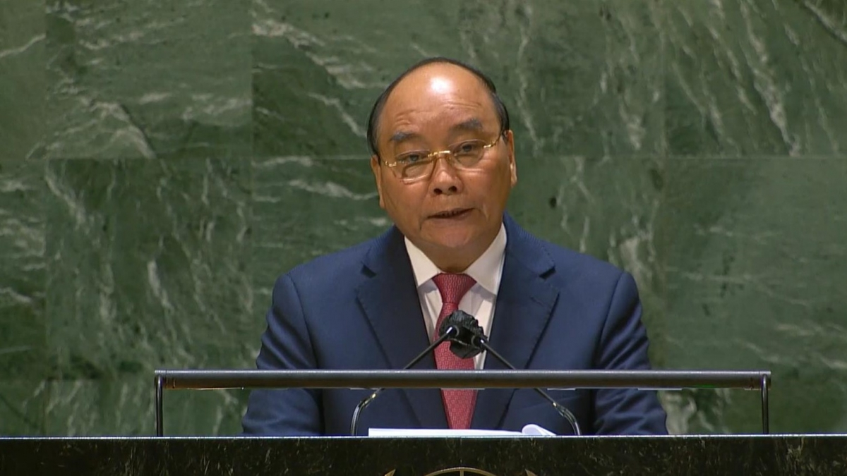 Chủ tịch nước Nguyễn Xuân Phúc phát biểu tạiPhiên thảo luận chung cấp cao Đại hội đồng Liên Hợp Quốc khóa 76