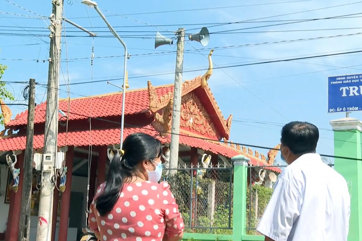 Cụm loa không dây tại vùng đồng bào Khmer.