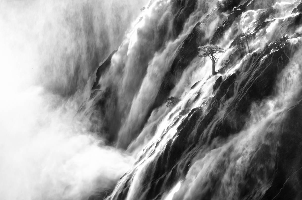 """Được chụp ở Namibia, tác phẩm """"Thác Ruacana vĩ đại"""" của nhiếp ảnh gia Jan Roode là một trong số những tác phẩm nổi bật ở hạng mục Thiên nhiên. """"Dòng sông Kunene chảy qua Angola và tràn qua một vách đá khổng lồ nằm trên biên giới Namibia ở thác Ruacana. Ở đây còn có một cây bao báp con đang bám vào vách đá trồi ra ngoài khi dòng thác Ruacana xối xả quanh nó"""", tác giả của bức ảnh giải thích."""