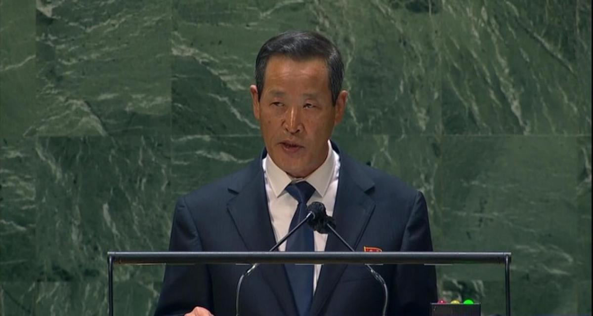 Đại sứ Triều Tiên Kim Song phát biểu tại phiên họp của Đại hội đồng Liên Hợp Quốc ngày 27/9 (Ảnh: Yonhap).