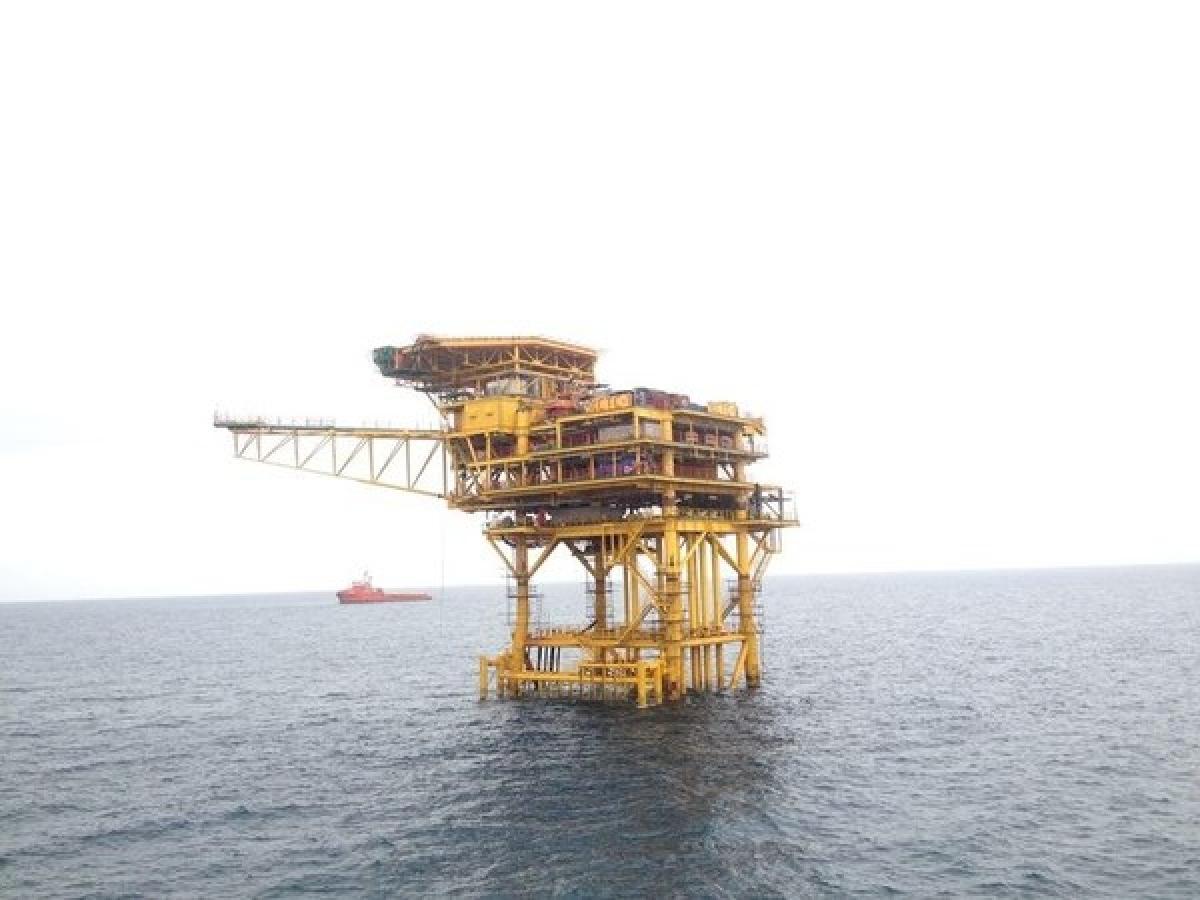 An oil platform at Ca Tam oilfield