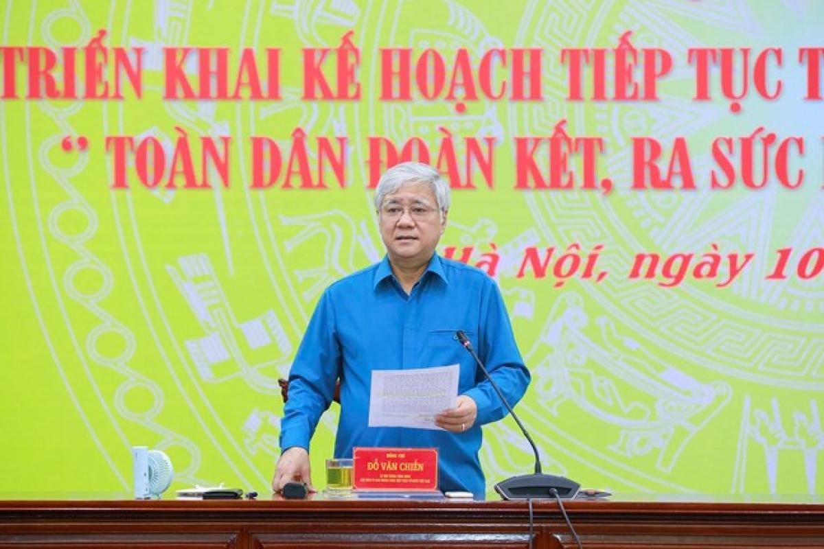 Bí thư Trung ương Đảng, Chủ tịch Ủy ban Trung ương MTTQ Việt Nam Đỗ Văn Chiến phát biểu tại Hội nghị (Ảnh: UBTWMTTQVN)