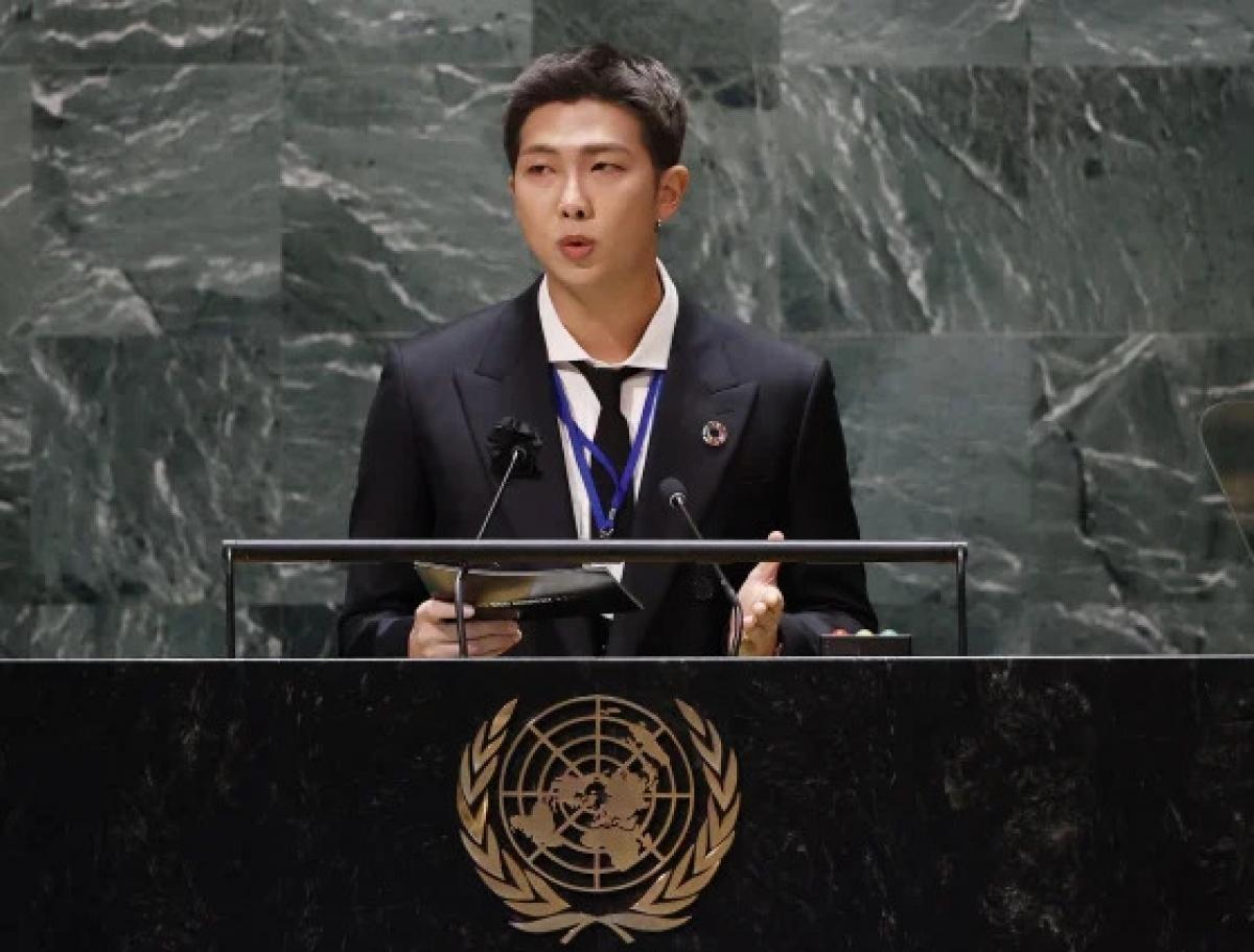 """Trưởng nhóm RM phát biểu tại Hội nghị """"SDG Moment""""."""