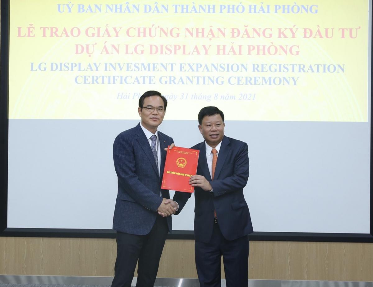 Công ty TNHH LG Display Việt Nam (Hải Phòng) nhận chứng nhận đăng ký đầu tư sau 3 ngày nộp hồ sơ.