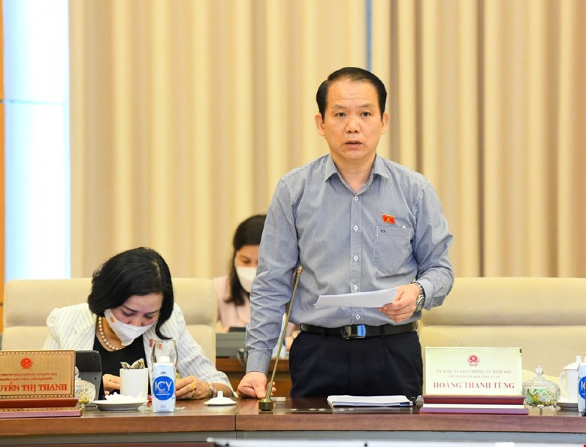 Chủ nhiệm Ủy ban Pháp luật của Quốc hội Hoàng Thanh Tùng - Phó Trưởng đoàn Thường trực Đoàn giám sát trình bày các văn bản liên quan. Ảnh: Quốc hội