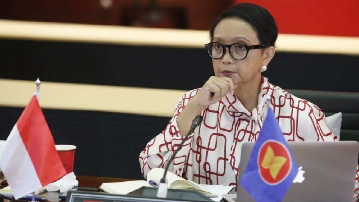 Ngoại trưởng Indonesia, Retno Marsudi tại cuộc họp với Australia. Nguồn: Bộ Ngoại giao Indonesia