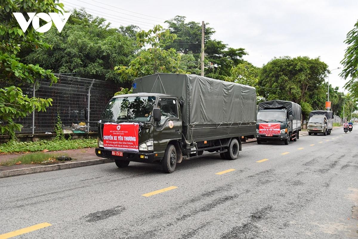 Chuyến xe nghĩa tình của Bộ chỉ huy Quân sự tỉnh Kiên Giang xuất phát sáng 30/8 đến với bà con TP.HCM. (ảnh: Lam Hiếu)