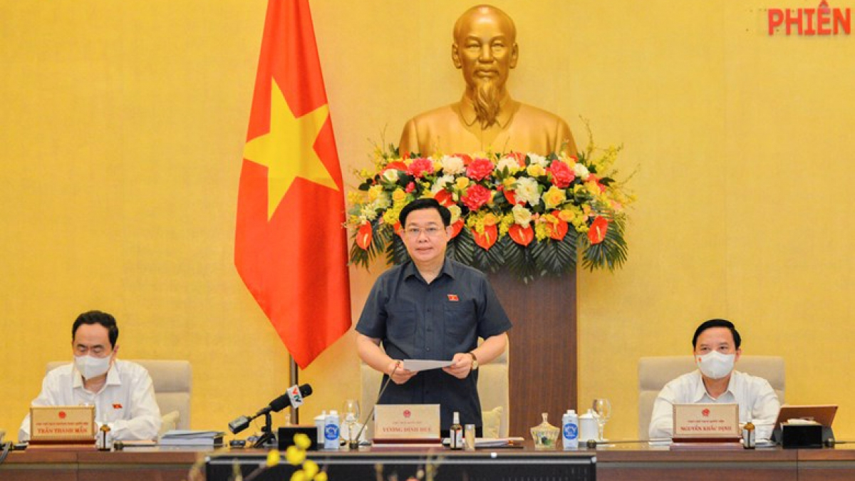 Chủ tịch Quốc hội Vương Đình Huệ phát biểu khai mạc phiên họp thứ 3 của Ủy ban Thường vụ Quốc hội khóa XV. Ảnh: Quốc hội