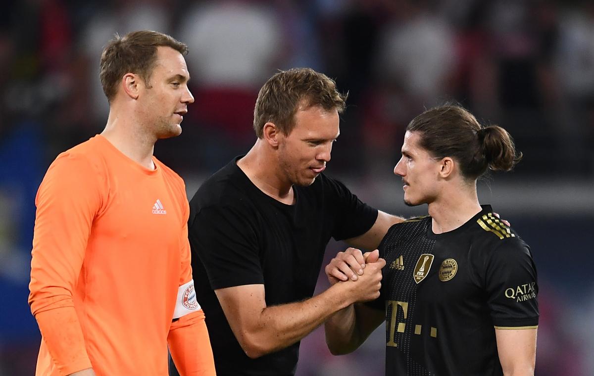 HLV Nagelsmann và tiền vệ Sabitzer ăn mừng chiến thắng trước đội bóng cũ. (Ảnh: Reuters)