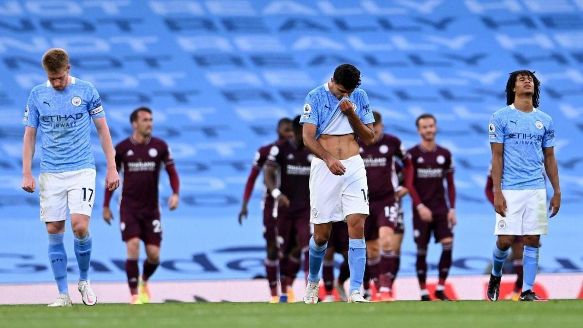 """Man City """"thảm bại"""" 2-5 trước Leicester ngày này 1 năm trước. (Ảnh: Getty)."""
