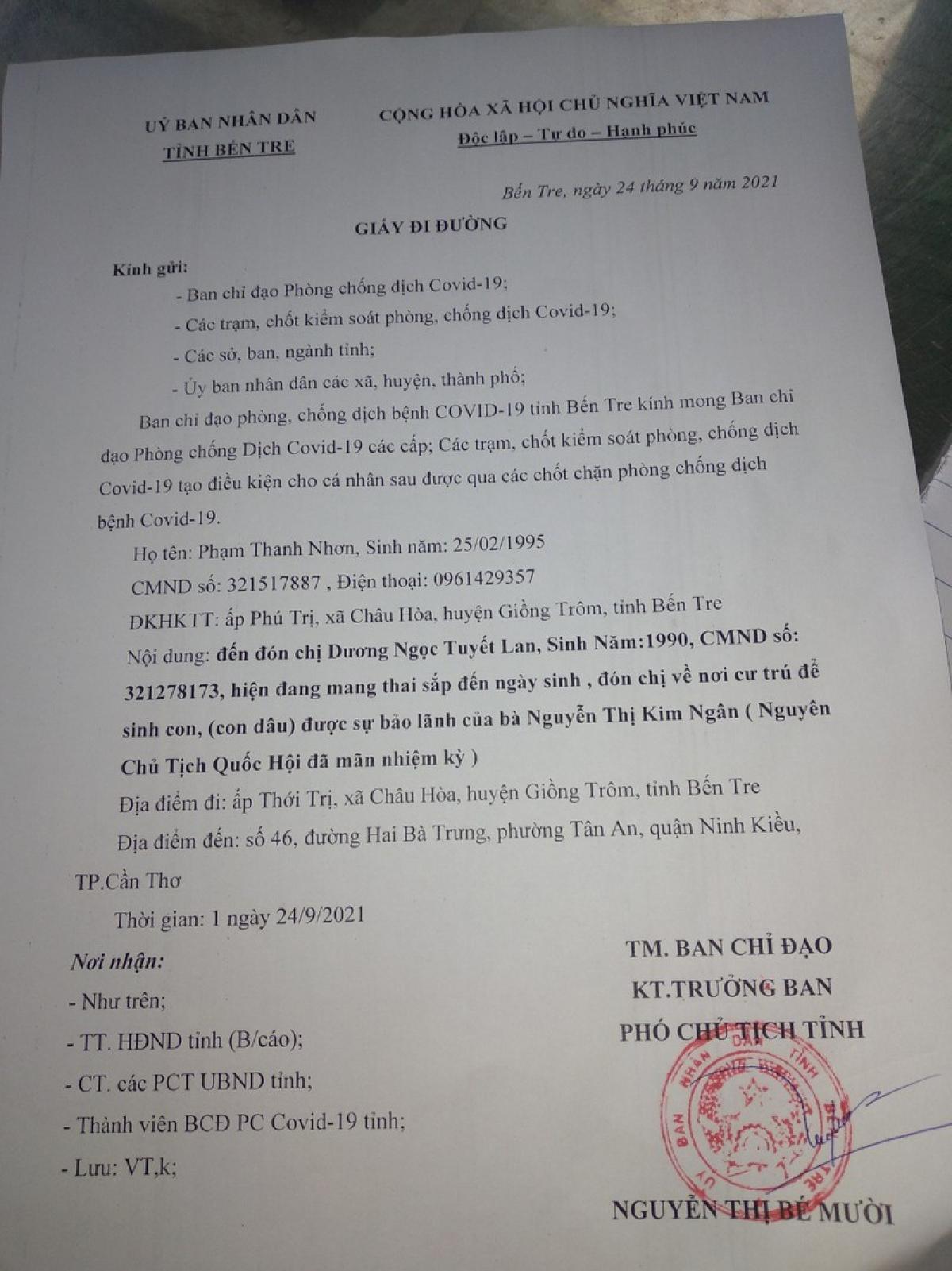 Giấy đi đường giả Phạm Thành Nhơn sử dụng để qua chốt.