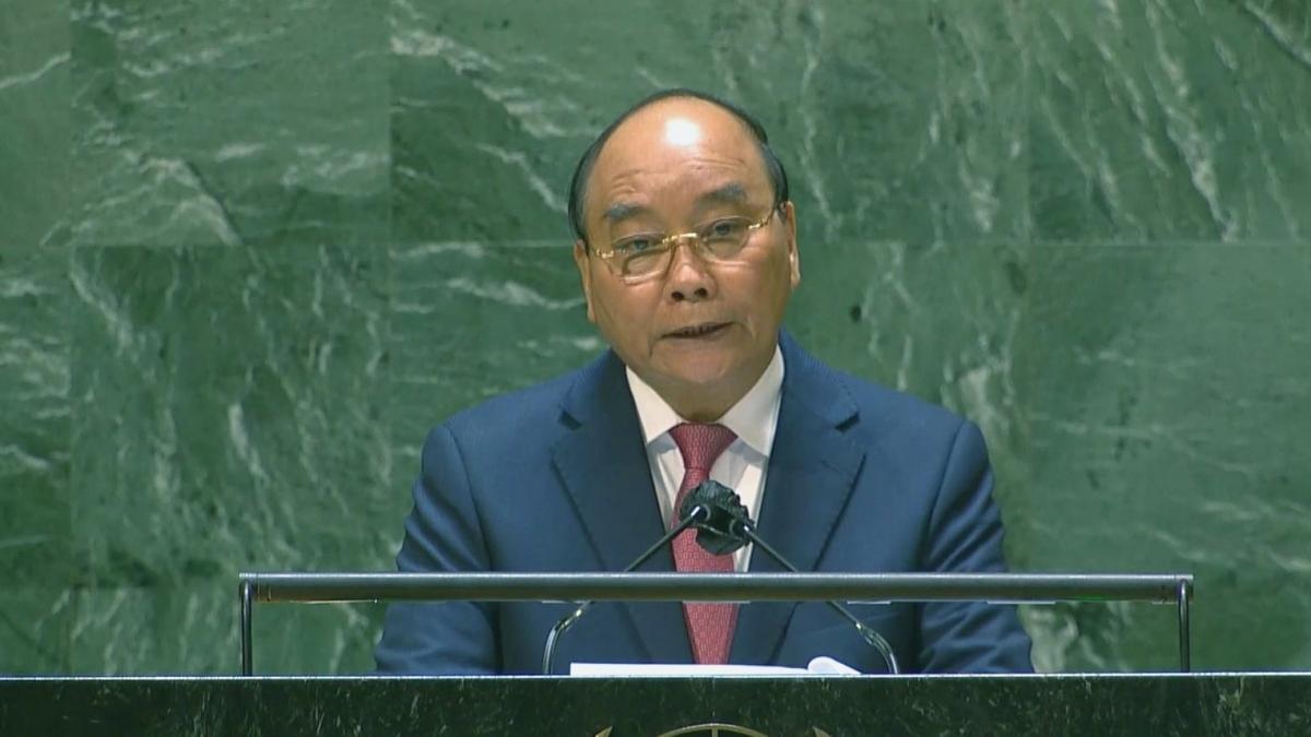 Chủ tịch nước Nguyễn Xuân Phúc phát biểu tại Phiên thảo luận chung Cấp cao Khoá họp 76 Đại hội đồng LHQ.