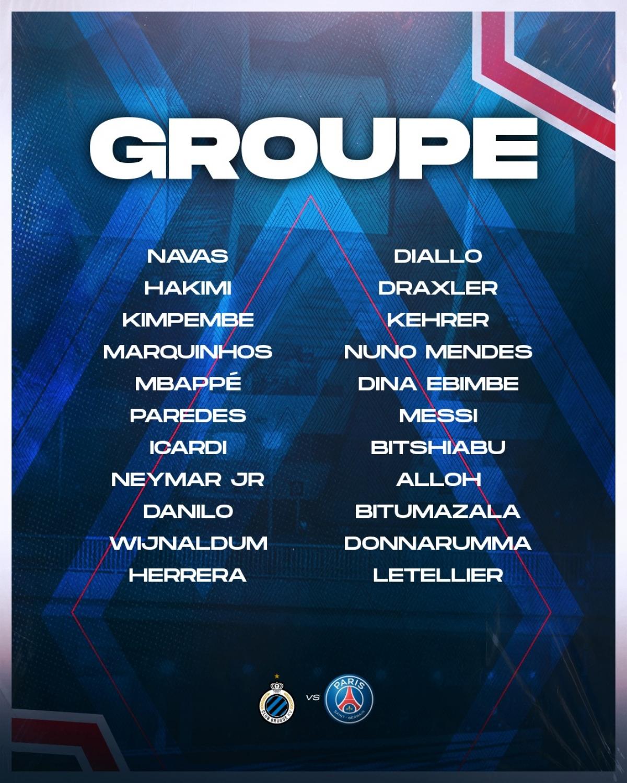Messi, Neymar, Mbappe đều có tên trong danh sách tham dự trận gặp Brugge. (Ảnh: PSG)