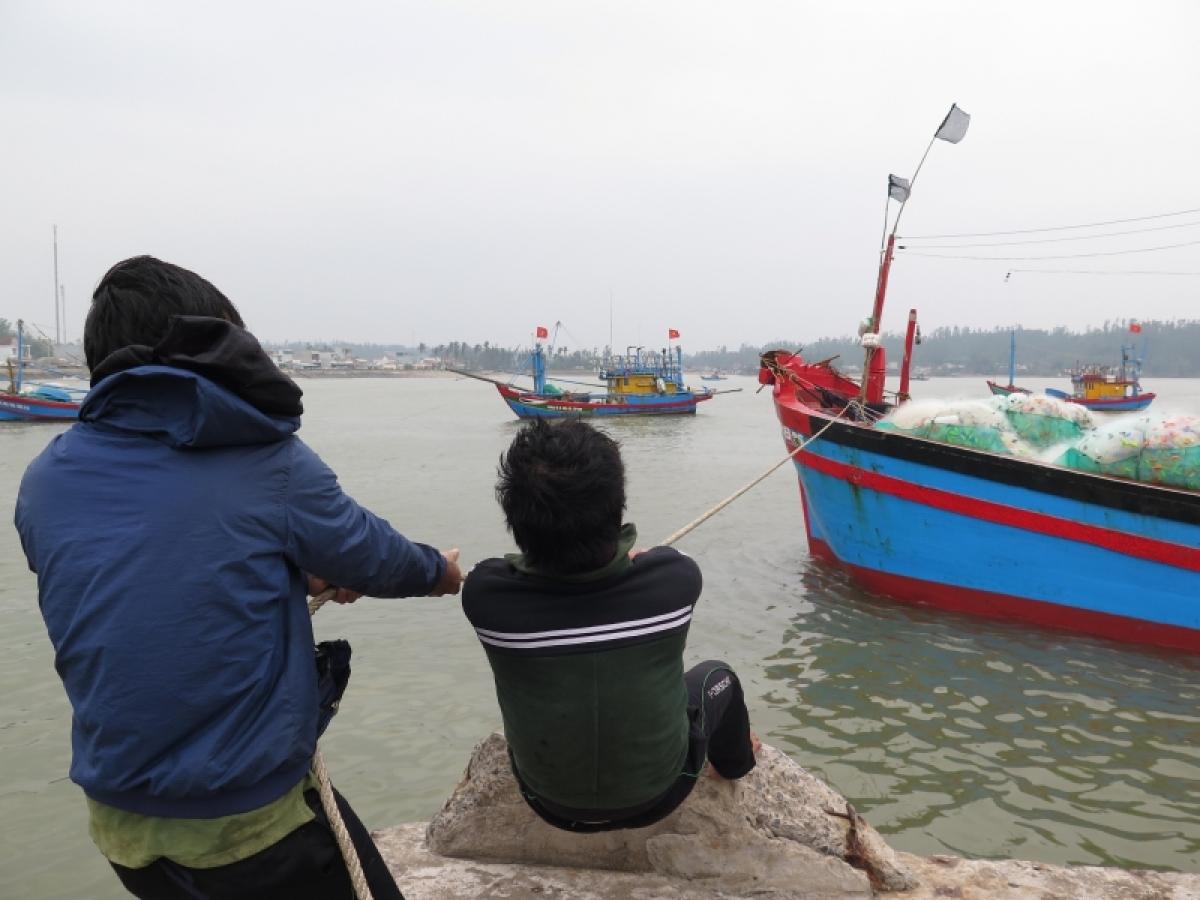 Ngư dân Quảng Ngãi đưa tàu thuyền vào nơi neo đậu trú bão.