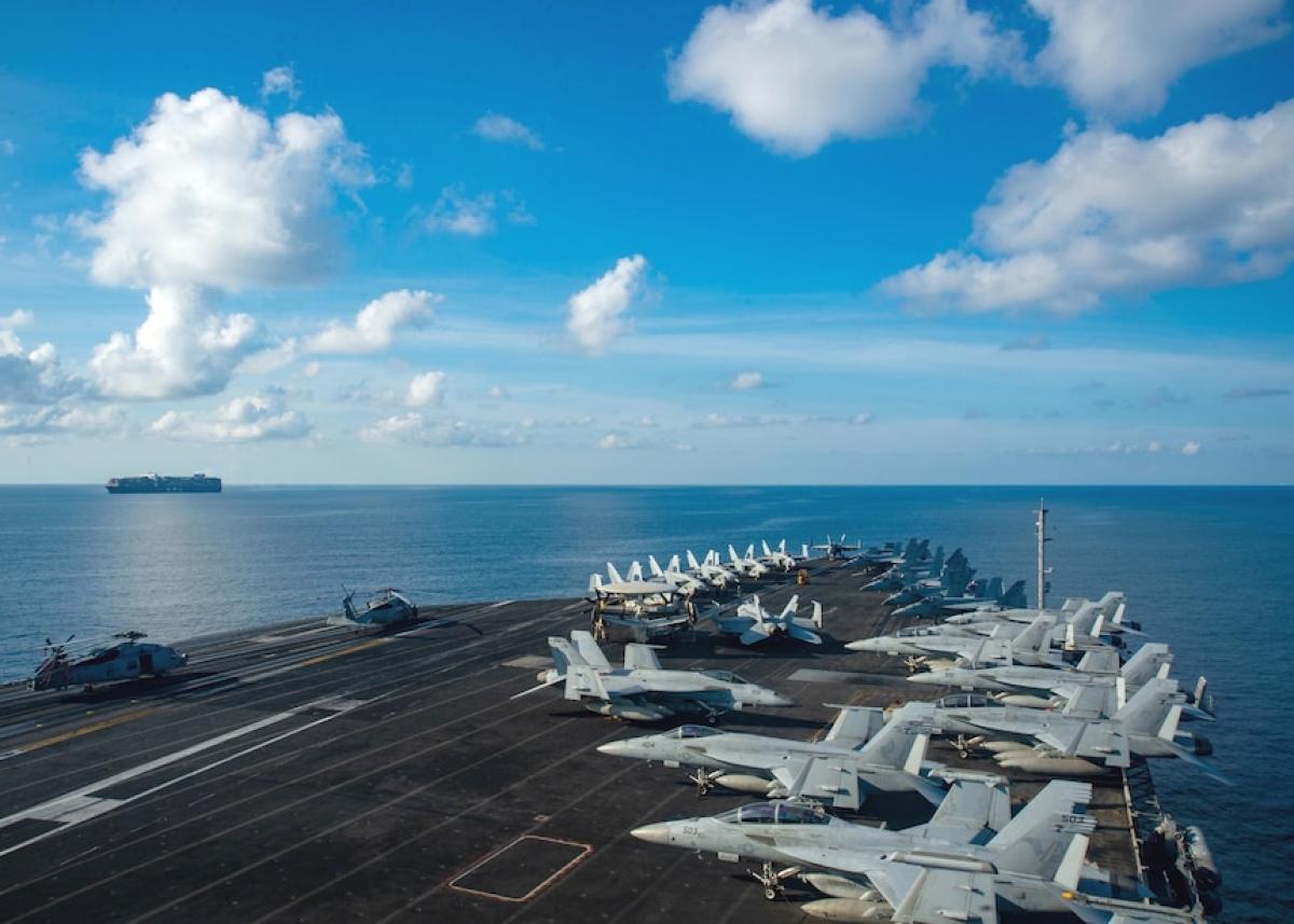 Tàu sân bay Mỹ USS Ronald Reagan trở lại Biển Đông tháng 9/2021. Ảnh: Hải quân Mỹ